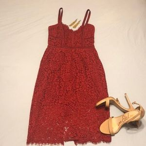 Red lace dress from Express